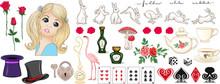Alice In Wonderland Set. Alice, Rabbit, Cat, Queen And Other Elements For Design. Clip Art, Set Of Elements For Design. Vector Illustration..