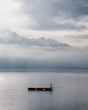 "View Of Lake ""Brienzersee"", Switzerland With Floating Pontoon"