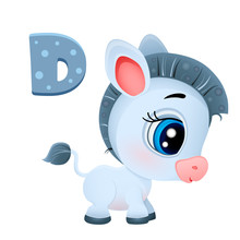 Vector Volume Icon Of A Cute Little Gray Donkey With Big Eyes Ears Isolated On A White Background, A Pet On The Farm, Big Blue Eyes Eps 10 Print T-shirt Pink Face Mule, Burro