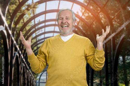 Photo Happy old senior man with arms up in the park Portrait of grandfather rejoicing in greenhouse background