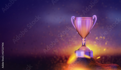 Fotomural winner cup in the sunset sky background, 3D illustration