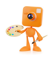 Cartoon Photographer-Artist. Bizarre Cameraman As A Funny Personage Holding In His Hands An Artist's Painting Palette And Paintbrush. 3D-rendering Graphics On The Theme Of Creative Occupations.