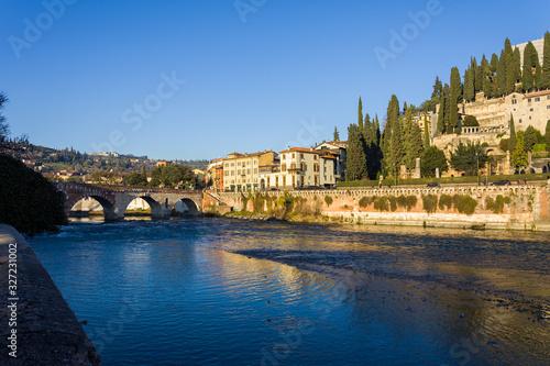 Verona bridge and Adige river view, Veneto region of Italy Wallpaper Mural