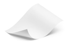 Blank Bended Paper Sheet, Isol...