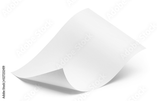 Cuadros en Lienzo Blank bended paper sheet, isolated on white background