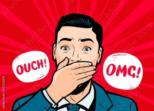 Photo Surprised businessman. Retro comic pop art vector illustration