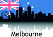 Black Silhouette of Cityscape Panorama Reflection With Background National Flag of Melbourne, Australia