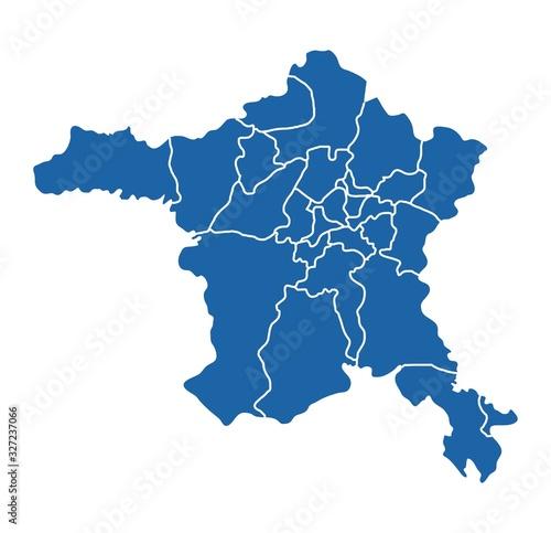 Photo Outline blue map of Ankara