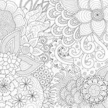Line Art Of Abstract Flowers Or Coral Reef For Background, Coloring Book,coloring Page And So On. Vector Illustration