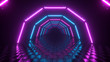 canvas print picture Flight through hexagonal corridor, glowing tunnel, pink blue neon light, abstract background, 80's retro style, pop music stage, fashion podium. 3d illustration