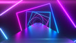 canvas print picture Abstract geometric background with rotating squares, fluorescent ultraviolet light, glowing neon lines, spinning tunnel, modern colorful blue red pink purple spectrum, 3d illustration