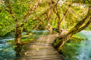 Fototapeta Mosty Wooden footpath over river in forest of Krka National Park, Croatia. Beautiful scene with trees, water and sunrays.