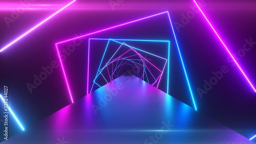Abstract geometric background with rotating squares, fluorescent ultraviolet lig Poster Mural XXL