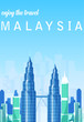 Flat Illustration. Awesome city view in sunny day in Petronas Tower, Kuala Lumpur. Enjoy the travel. Around the world. Quality vector poster. Malaysia.