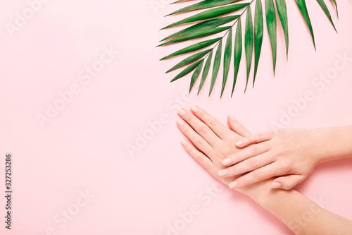 Woman's hands with beautiful manicure on pink background. Hands spa concept