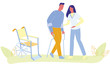 Woman Medical Nurse Assist Man Walking with Cruthes Vector Illustration. Patient Crutch Training. Wheelchair Recovery. Physiotherapy Training. Disabled Rehabilitation. Leg Injury Treatment