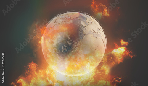 world globe with fire and flames Wallpaper Mural