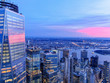 New York City WTC with East River in sunset, aerial photography