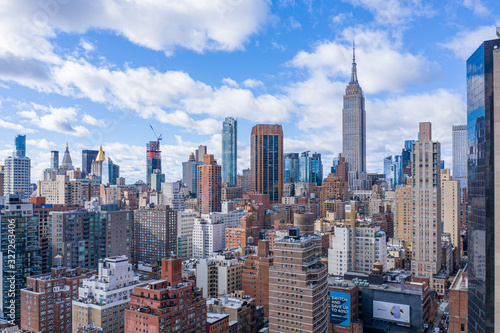 New York City Midtown Skyline with Empire State in daytime, aerial photography Wallpaper Mural