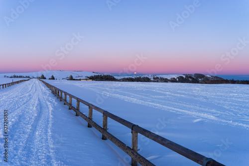 Fényképezés 雪原の夕焼け