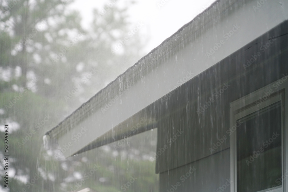 Fototapeta close up on storm rain on the roof