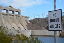 No Motor Vehicles Sign On The Colorado River Across From Davis Dam In Laughlin, Clark County, Nevada USA