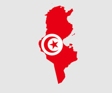 Map And Flag Of Tunisia
