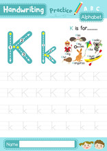 Letter K Uppercase And Lowercase Tracing Practice Worksheet A4