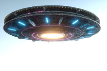 UFO, An Alien Plate Soars In The Sky, Hovering Motionless In The Air. Unidentified Flying Object, Alien Invasion, Extraterrestrial Life, Space Travel, Humanoid Spaceship. 3D Render, 3D Illustration