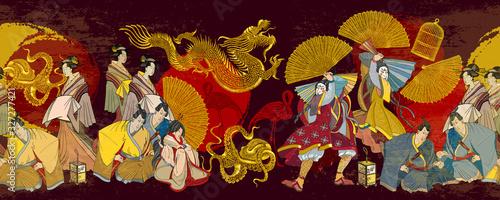 Fotografia, Obraz Golden dagon, samurai and geishas