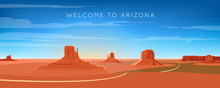 Unated States. Monument Valley, Arizona Landscape. Wide Panorama. Road, Mountains, And Rocks. Vector Illustration