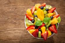 Bowl Of Fruit Salad, Top View