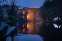 Knaresborough Yorkshire England Viaduct Winter Night Reflection