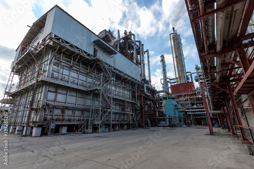 General view of the chemical furnace at a chemical enterprise producing mineral fertilizers, nitrogen, ammonia, nitric acid, phosphate fertilizers Canvas Print