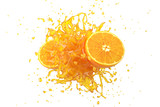 Explosion Orange juice liquid with Orange fruit on white background. 3D Render.