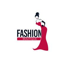 Retro Fashion, Lady In Red Dress, Fashion Store, Salon, Boutique Logo And Emblem