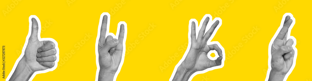 Fototapeta Collage in magazine style with hands showing different gestures on yellow background