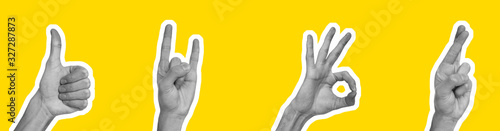 Fototapeta Collage in magazine style with hands showing different gestures on yellow background obraz