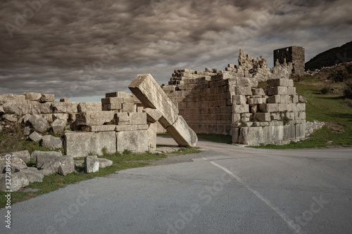 Valokuva ruins of Arcadian Gate in Ancient city of Messina, Peloponnese, Jan 2020