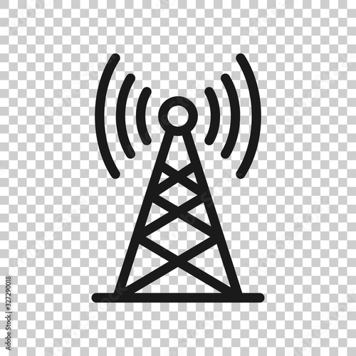 Antenna tower icon in flat style. Broadcasting vector illustration on white isolated background. Wifi business concept.