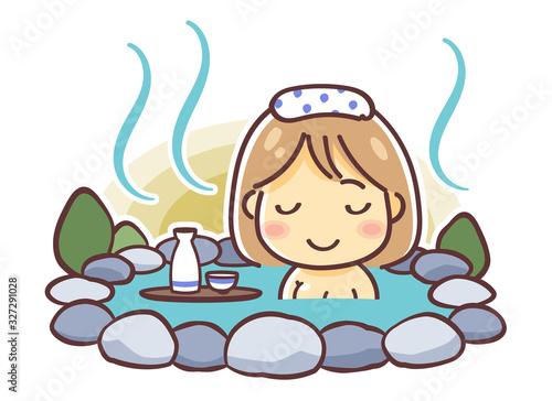 Fotografía 「温泉に入る女性」のデフォルメイラスト(露天風呂)