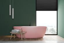 Green Bathroom Interior With P...