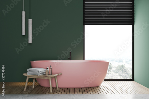 Fotomural Green bathroom interior with pink tub