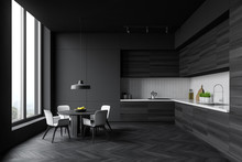 Grey And Wooden Kitchen With R...