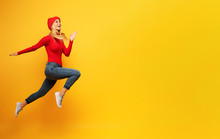 Girl Runs Fast. Concept Of Ene...