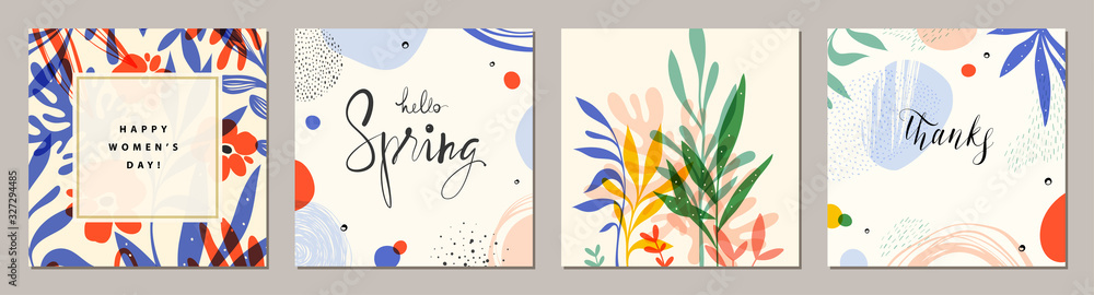 Fototapeta Happy Women's Day. Hello Spring. Trendy abstract square art templates. Suitable for social media posts, mobile apps, banners design and web/internet ads.