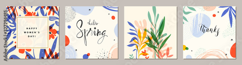 Obraz Happy Women's Day. Hello Spring. Trendy abstract square art templates. Suitable for social media posts, mobile apps, banners design and web/internet ads.  - fototapety do salonu