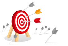 Many Arrows Missed Hitting Target Mark. Shot Miss. Multiple Failed Inaccurate Attempts To Hit Archery Target. Business Infographic Challenge Failure Metaphor. Flat Cartoon Isolated Vector Illustration