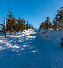 Snow Covered Hiking Trail With Trees Around And Clear Sky In Winter Beskid Slaski Mountains In Poland