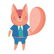 cute squirrel with clothes animal cartoon character